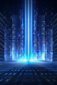 빈 무대 쇼의 배경입니다. 네온 불빛과 레이저 쇼. 어두운 배경에 미래형 레이저 모양. 블루 네온 불빛, 대칭 반사