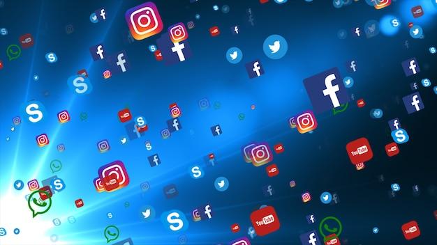 Фон из известных иконок социальных медиа