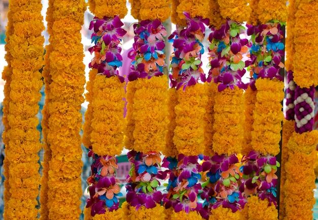 태국 스타일의 꽃 화환의 배경입니다. 태국