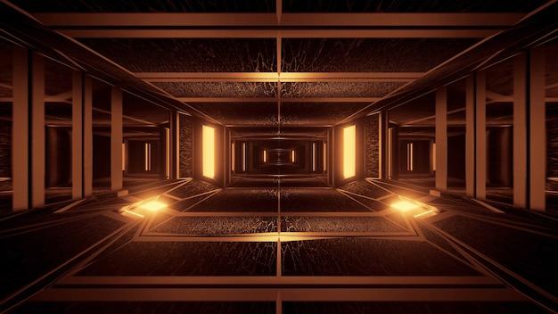 네온 레이저 조명으로 기하학적 모양의 배경