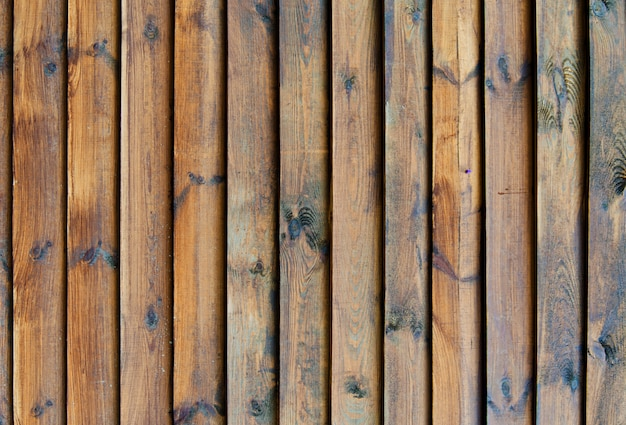自然な結び目のウッドフェンスの背景。木製のテクスチャです。