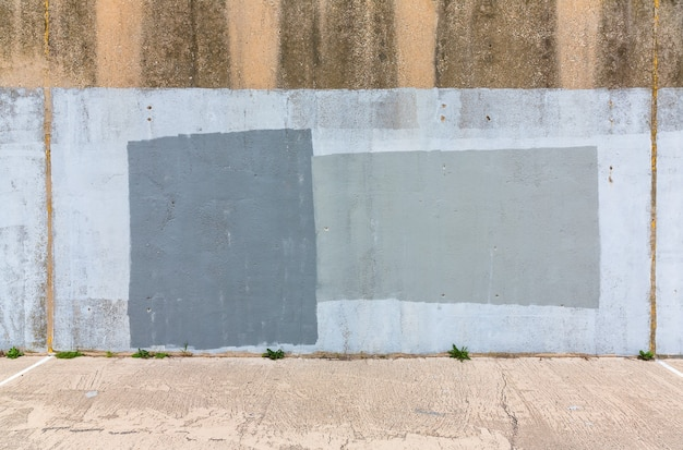 오래 된 회색 페인트 벽의 배경입니다. 세 거리 벽 배경, 질감입니다.