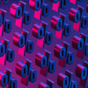 Фон знаков процента в красно-синем свете киберпанка