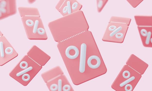 Фон розовых купонов с процентами
