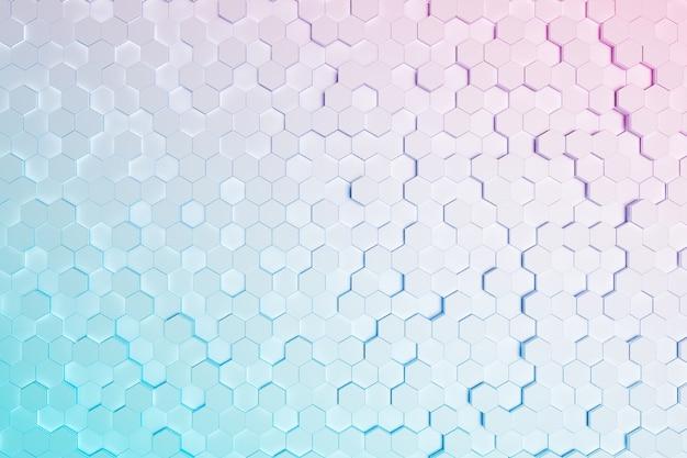 핑크와 블루 그라데이션 색상으로 작은 육각형의 배경. 3d 렌더링