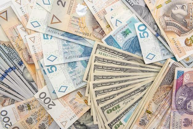 Usd 및 pln 지폐의 배경. 비즈니스 개념