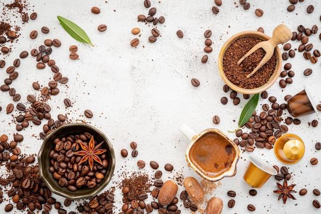 다양한 커피의 배경