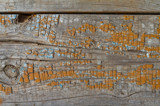 Background old filthy pine board with cracks and knot, covered orange paint