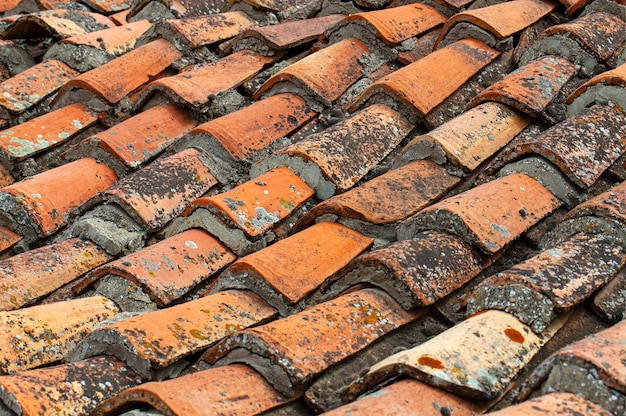 The background of old roof tiles.
