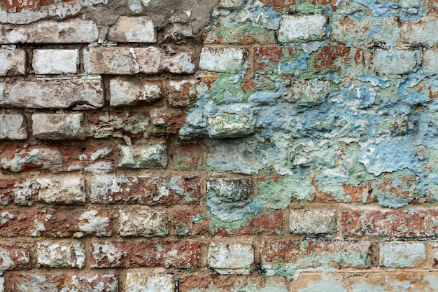 Background of old vintage dirty brick wall texture