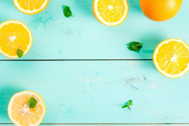 背景::オレンジとミント