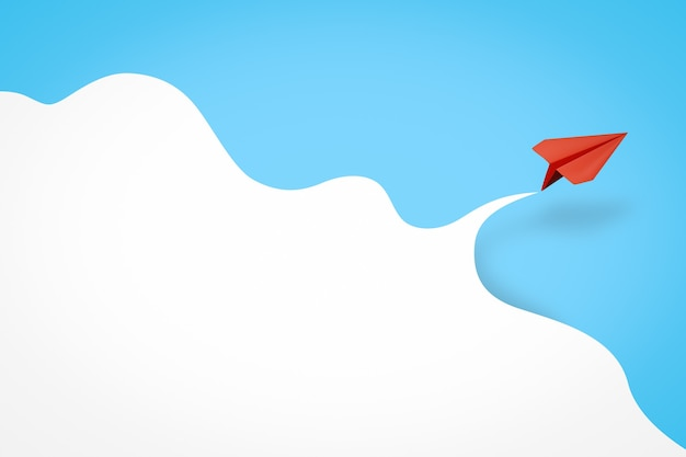 Background of paper airplane and cloud background 3d rendering