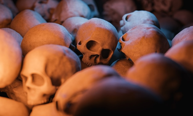 Background of a pile of skulls