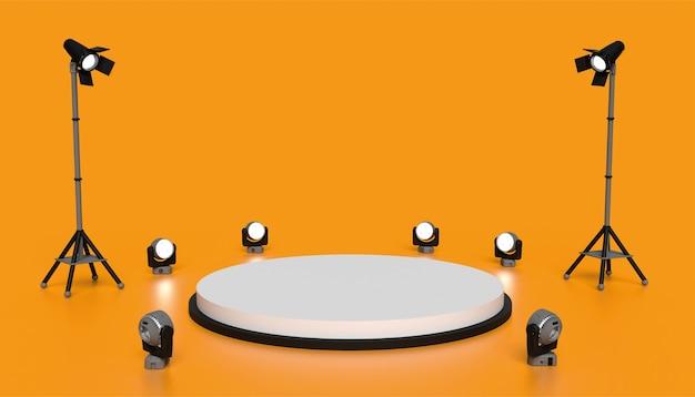 배경 연단과 오렌지 스튜디오 장면, 조명, 배경 3d 렌더링 최소한의 무대