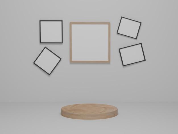 Фон продукты минимальный деревянный подиум на белой платформе. абстрактный минимализм с фоном рамки рисунка. 3d визуализация, 3d иллюстрации