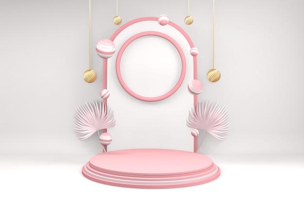 Background products valentine podium in love platform,valentine pink podium minimal design .3d rendering