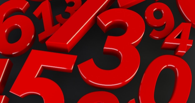 Background of red numbers. from zero to nine. abstract numbers
