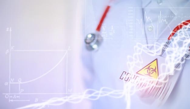 研究室のバックグラウンド研究者は、ウイルス性肺炎の治療のための薬をテストしています。感染した患者のコロノウイルス血液検査。世界的大流行。