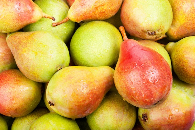 Background of ripe juicy pears for your design