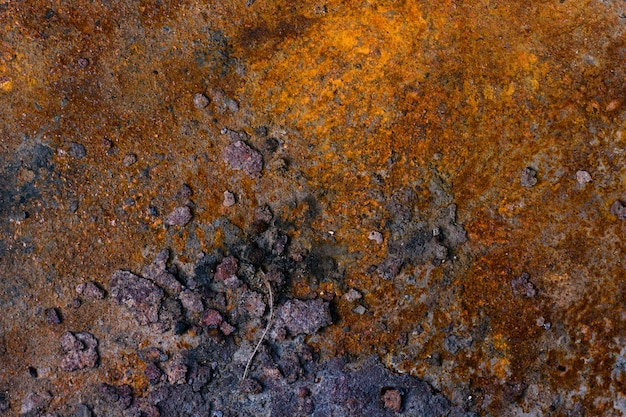 Background of a rusty old iron metal sheet, orange and brown colors