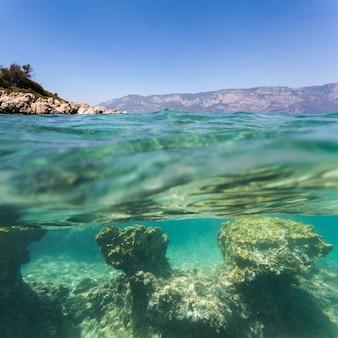 水中のビーチの背景砂
