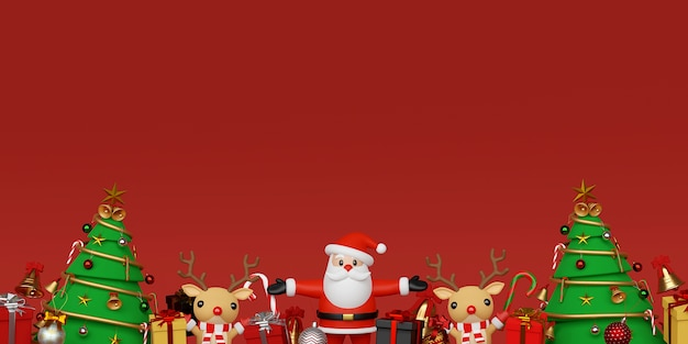 Background of santa claus and reindeer with christmas gifts