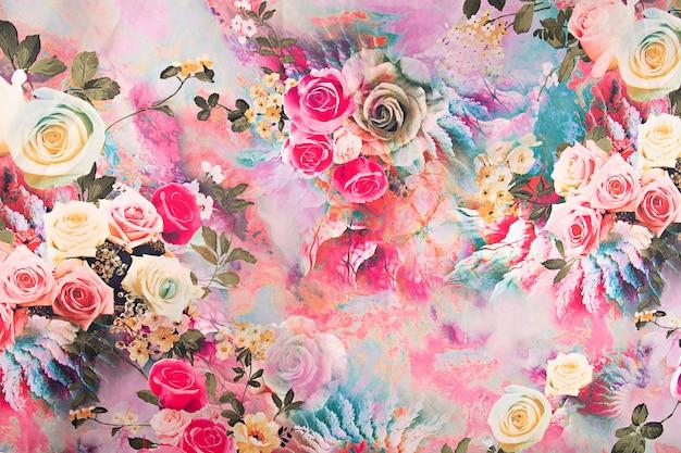 花と背景のサテンの多彩な生地