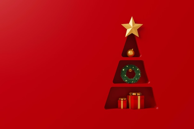 Background shelf christmas tree shape with gift box and decorate element on red background