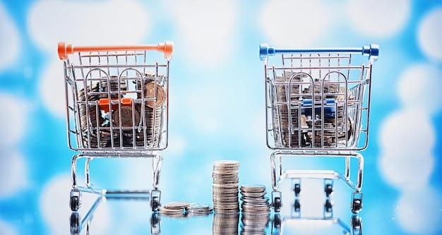 Фоновая тележка для покупок. концепция покупки продуктов и вещей. магазин выходного дня.