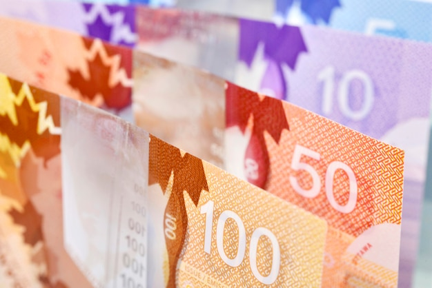 Background shot of canadian banknotes