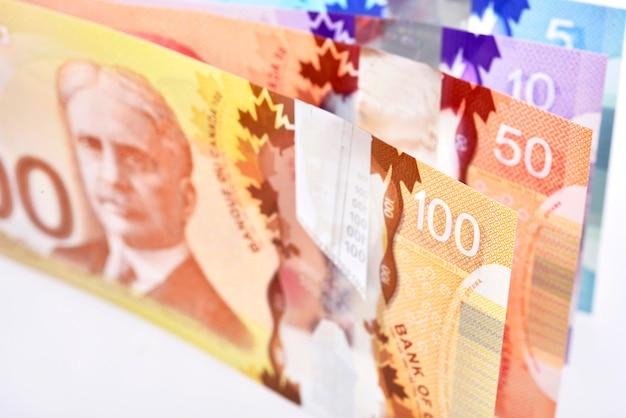 Фон выстрел из канадских банкнот