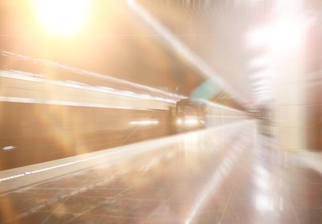 バックグラウンド。空席のある地下鉄の車。空の地下鉄。