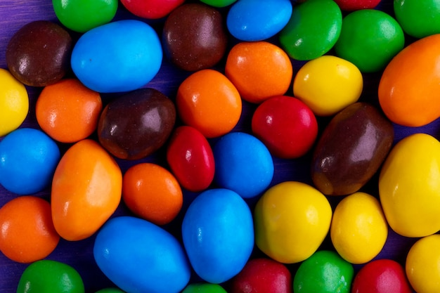 Background of sweet colorful candies top view