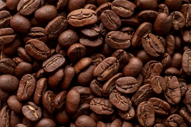 Background of tasty roasted coffee beans