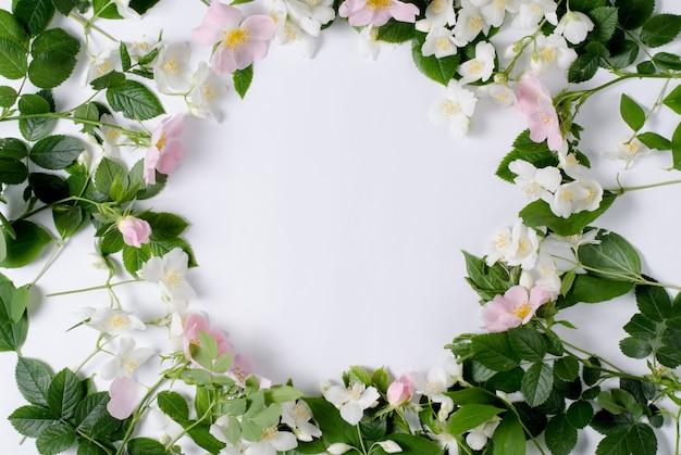 Background of tea roses and jasmine flowers.