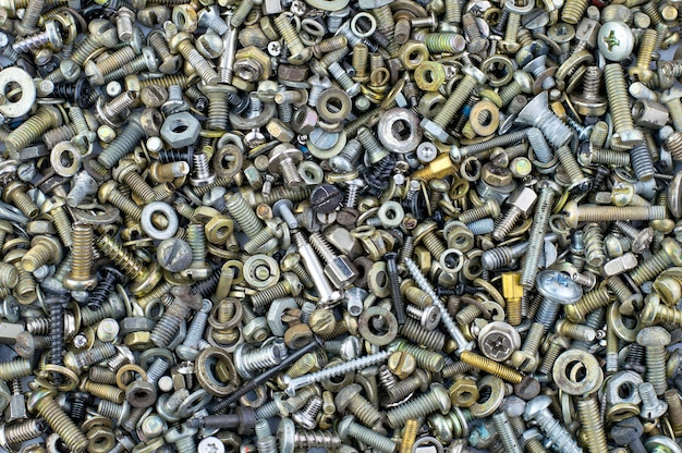 Background texture assorted nuts and bolts
