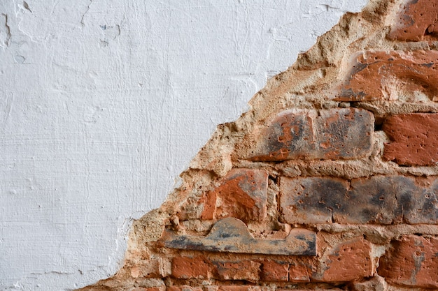 Background and texture brick wall painted with paint or hard putty
