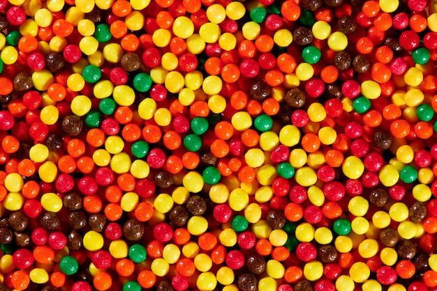 Background texture of bright colorful sweets close-up.
