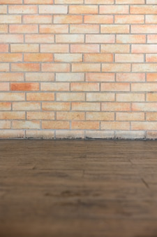 Background of texture brown brick and wooden floor