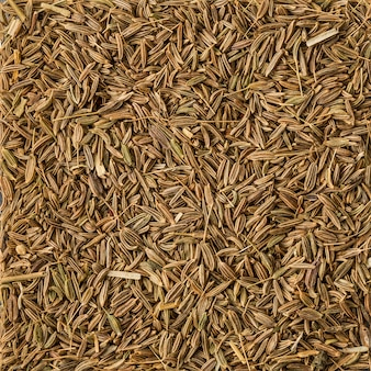 Background texture of dried cumin seeds, top view