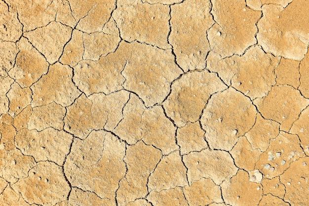 背景、テクスチャ-泥割れのある乾燥した粘土質土壌