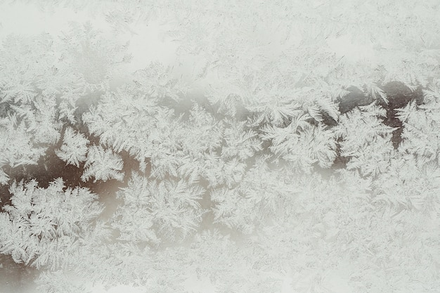 Background and texture of frozen glass in hoarfrost. winter.