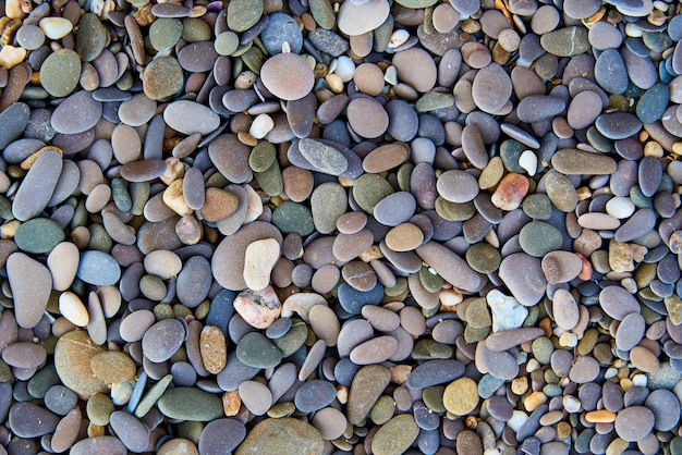Background texture of multicolored stones on the beach.