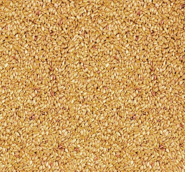 健康なオメガ 3 脂肪酸、食物繊維を含み、コレステロールを下げるために使用される、ローストした黄金の亜麻仁または亜麻仁の背景テクスチャー