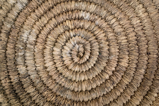 Background and texture of old natural round woven straw.