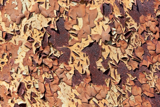 Background texture of old rusty metal with cracked paint.