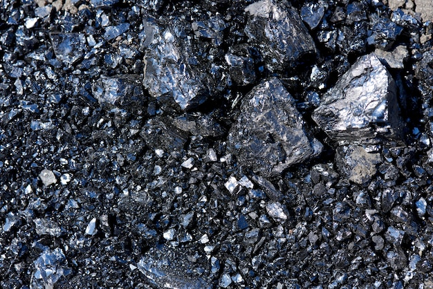 Background texture of pieces of coal close-up.