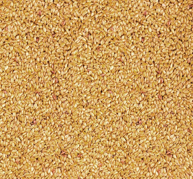 Background texture of roasted golden flax seed or linseed with healthy omega-3 fatty acids, dietary fiber, rich in oils and used to lower cholesterol