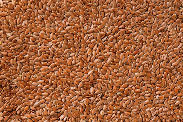 Background texture of seeds of dark brown flax.