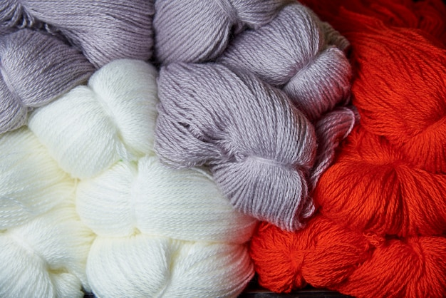 Background texture of soft multi-colored yarn.